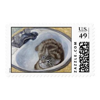 Bertie's Boudoir cat  in sink postage stamps