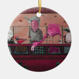 Bert's Bug Buffet In Pink Double-Sided Ceramic Round Christmas Ornament