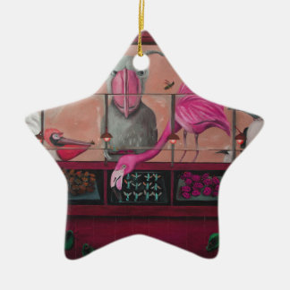 Bert's Bug Buffet In Pink Double-Sided Star Ceramic Christmas Ornament