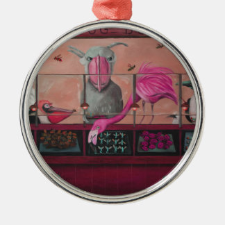Bert's Bug Buffet In Pink Round Metal Christmas Ornament