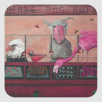 Bert's Bug Buffet In Pink Square Sticker