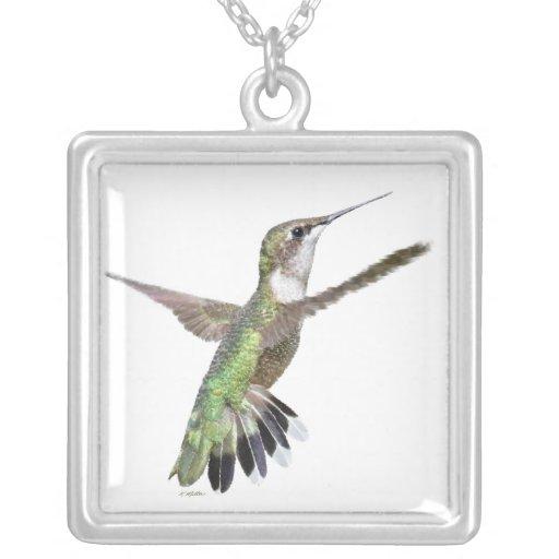 Berylline Hummingbird Painting Square Pendant Necklace