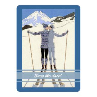 """besando a los esquiadores - reserva del invierno invitación 5.5"""" x 7.5"""""""
