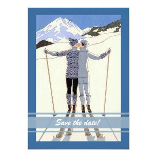 """besando a los esquiadores - reserva del invierno invitación 5"""" x 7"""""""