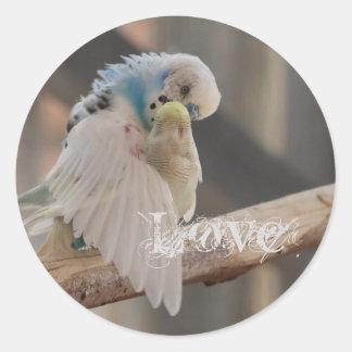 Besando del amor de los pájaros de la foto del pegatina redonda