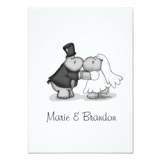 """Besando hipopótamos de la novia y del novio invitación 4.5"""" x 6.25"""""""