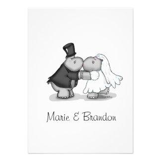 Besando hipopótamos de la novia y del novio person invitación personalizada