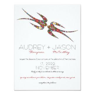 Besando tragos que la primavera florece el boda invitaciones personales