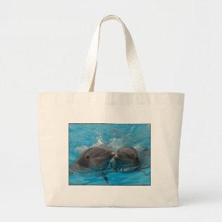 Besar delfínes bolsas lienzo