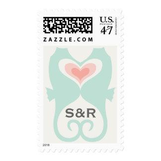 Besar el boda del verano de la playa de los timbres postales