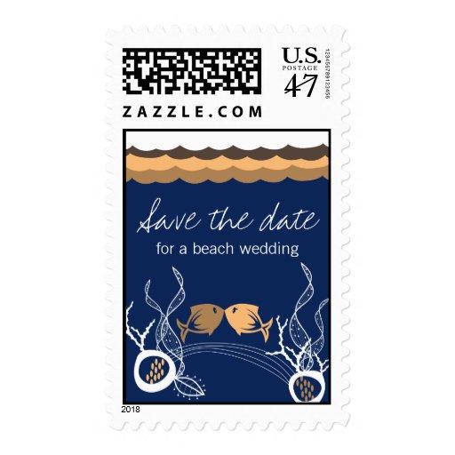 Besar el boda lindo caprichoso de la playa de los sellos postales