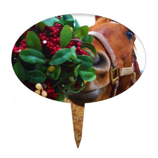 Besar el caballo debajo del muérdago figuras para tartas