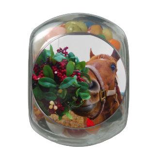 Besar el caballo debajo del muérdago jarras de cristal jelly bely