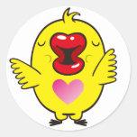besar el polluelo pegatina redonda