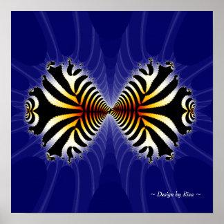Besar fractal de los pescados póster