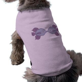 Besar la camisa del perrito de los pescados playera sin mangas para perro
