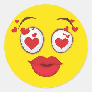 Besar la cara sonriente amarilla pegatina redonda
