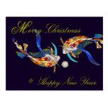 Besar la postal de las Felices Navidad de Koi y de