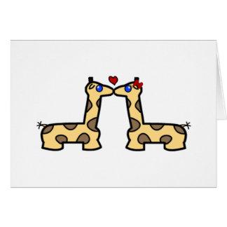 Besar la tarjeta de felicitación de las jirafas