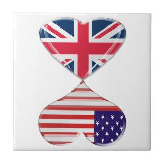 Besar los E.E.U.U. y arte BRITÁNICO de las bandera Azulejo Cuadrado Pequeño