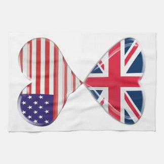 Besar los E.E.U.U. y arte BRITÁNICO de las bandera Toalla De Cocina