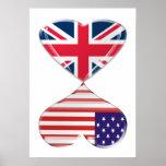 Besar los E.E.U.U. y el poster BRITÁNICO del arte