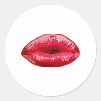 ¡Besar los labios! Pegatina Redonda