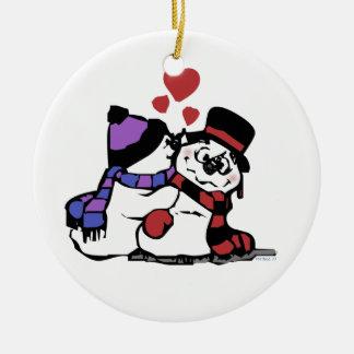 Besar los ornamentos del muñeco de nieve adorno navideño redondo de cerámica