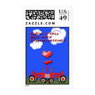 Besar los tractores bajo corazones sellos postales