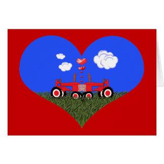 Besar los tractores bajo corazones tarjeta de felicitación