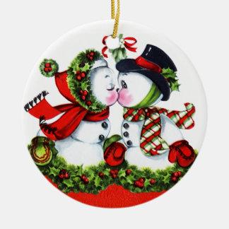Besar pares del muñeco de nieve adorno redondo de cerámica
