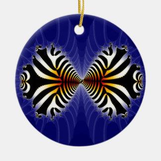 Besar pescados de la cebra del fractal de los adorno navideño redondo de cerámica