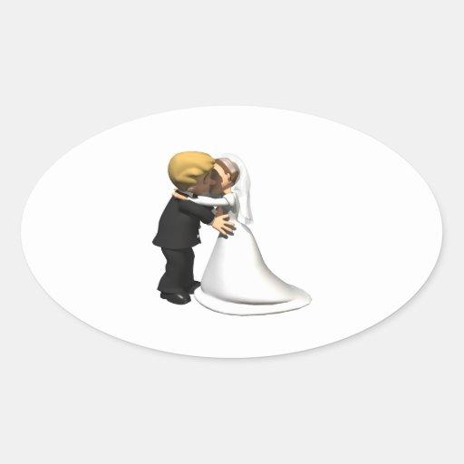 Bese a la novia 2 colcomanias oval