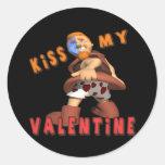 Bese a mi tarjeta del día de San Valentín Etiqueta Redonda