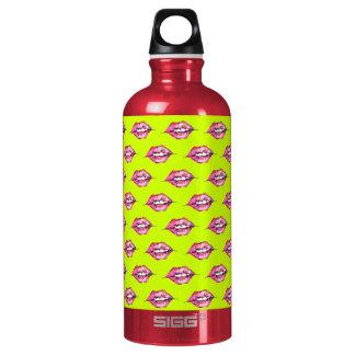 Bese los labios - rosa y amarillo botella de agua