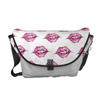 Bese los labios - rosa y blanco bolsa de mensajeria