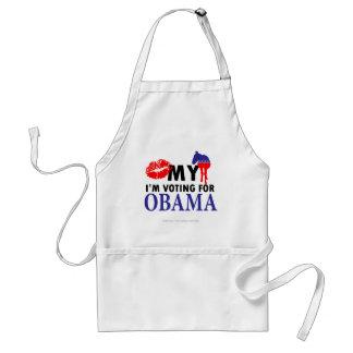 Bese mi burro Im votando por Obama Delantal