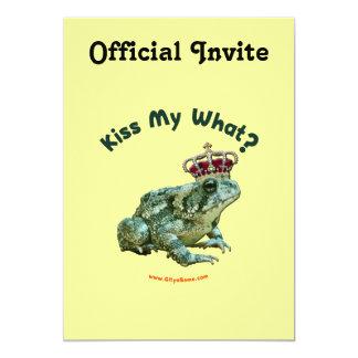 """Bese mi qué príncipe del sapo de la rana invitación 5"""" x 7"""""""