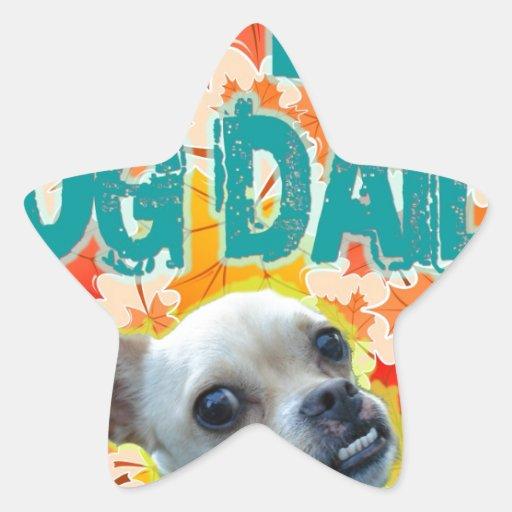 Bese su diario 2 del perro pegatina en forma de estrella