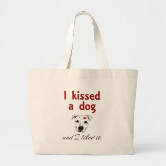 Besé un perro bolsa tela grande