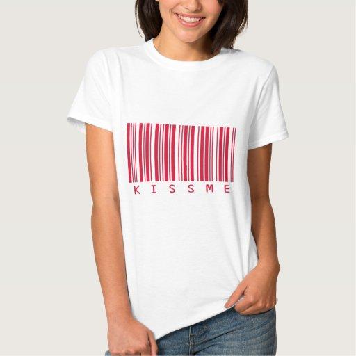 Béseme cosecha carmesí del código de barras #1 camisetas