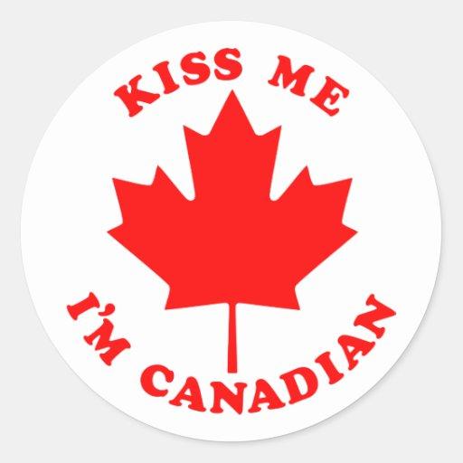 Béseme el canadiense Im Pegatina Redonda