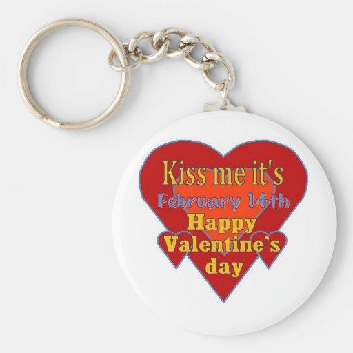 béseme que es día de San Valentín Llavero Redondo Tipo Pin