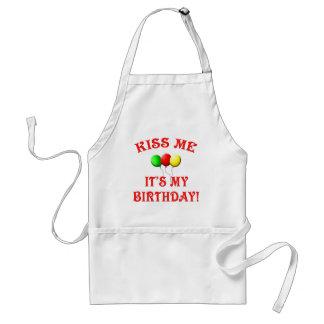 Béseme que es mi cumpleaños con los globos delantal