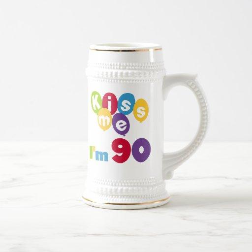 Béseme que soy 90 camisetas y regalos del cumpleañ tazas de café