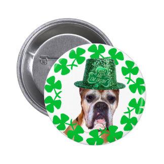 Béseme que soy botón irlandés del perro del boxead pins