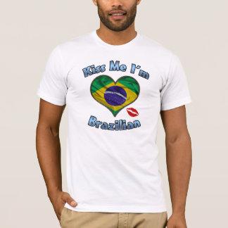 Béseme que soy camiseta brasileña de la bandera