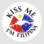Béseme que soy filipina pegatinas redondas