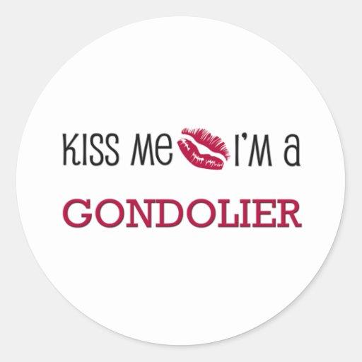 Béseme que soy GONDOLERO Pegatinas Redondas