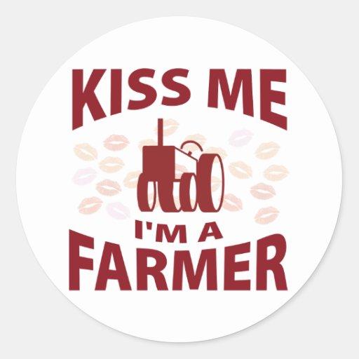 Béseme que soy granjero etiqueta redonda